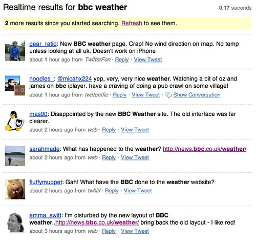 Twitter reaction to BBC Weather