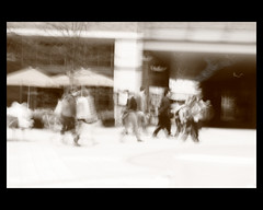 blurred crowd sepia #2 (colinpuddephatt) Tags: canon hampshire serif basingstoke