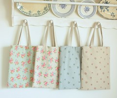 simple spring totes for friends and me (cottonblue) Tags: rose japan bag spring display handmade linen craft fabric cotton etsy handbag tote shabbychic cottonbluehandmade
