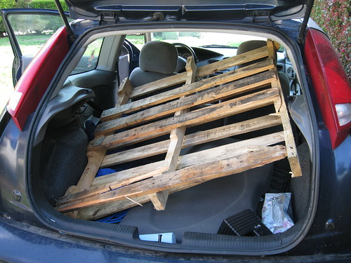 pallet that barely fit in my '00 Ford Focus hatchback