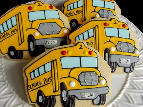 Custom Decorated School Bus Cookies