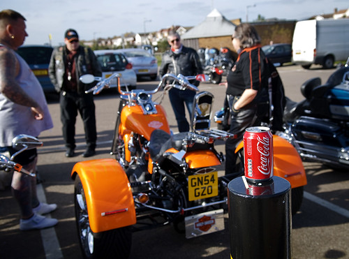 Coca-Cola + Harley-Davidson Trike + leathers + tattoos (welcome to Essex