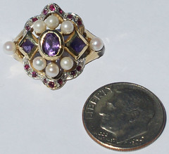 rubypearlamethring (rockabettys) Tags: vintage gold jewelry ring pearl 14k amethyst ruby reproduction estatering