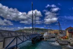 Wellington Harbour Bridge (Thad Roan - Bridgepix) Tags: bridge blue newzealand sky water clouds footbridge harbour pedestrian nz wellington northisland hdr frankkittspark photomatix bridgepixing bridgepix briging