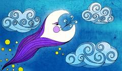 la noche ( Wee Rainbow Girl  Nay Paul ) Tags: blue sky cloud moon azul illustration photoshop mexico wind air viento luna cielo estrellas universe diseo aire nube grafico ilustracin universo cs3