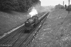45372 passing Wivelsfield with a Special from Tring to Brighton 23 June 1956 (pondhopper1) Tags: blackandwhite white black steam railways 460 wivelsfield black5 uksteam