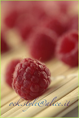 Raspberry on Bamboo Mat