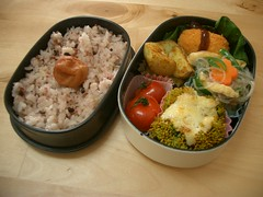 High-Def Bento! (skamegu) Tags: tomato potatoes rice broccoli bento   umeboshi  ricenoodles