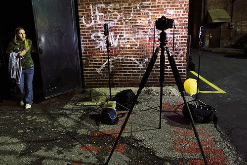 This is the portrait set-up we had in the back alley of The Blue Note for the mixed martial arts tournament on April 10. Two lights (cant remember what their name is) and a 5D MkII. I manned the set-up for the first three hours overall and first two 2.5 hours of the tournament.