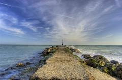 Extending out to sea (Stu Meech) Tags: blue sea sky english rock clouds lens concrete nikon long waves stu head 1855mm groyne hdr channel hengistbury crashing whispy meech d40 lintle vosplusbellesphotos