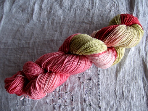 100g hand dyed sock yarn 'crabapple'