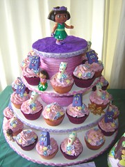 dora cupcake tower (The Whole Cake and Caboodle ( lisa )) Tags: flowers newzealand party tower cupcakes map dora cupcake backpack whangarei cupcaketower doratheexplorer caboodle thewholecakeandcaboodle