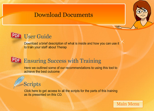 The Docs section has some documents for download - A User Guide, a collection of tips for holding a successful training on Therap, and copies of all the scripts of T-Girls sessions