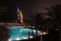 Beautiful Night Scene! (A M I R ) Tags: reflection water pool night dubai nightshot burjalarab jumairah blueribbonwinner