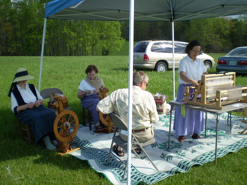 Spinners and weavers demonstrating at the games