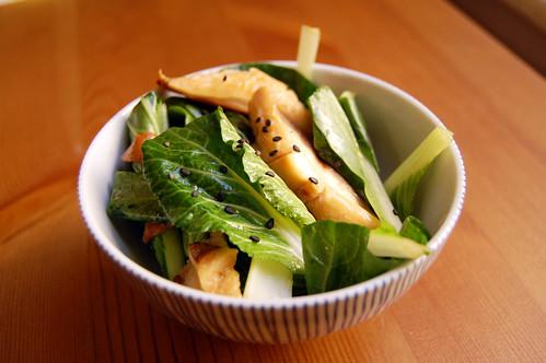 Bok choi and shiitake salad
