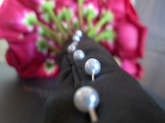 Bouquet (Amaya1991) Tags: flowers wedding red white black rose pin wrap pins bead pearl bouquet pinned