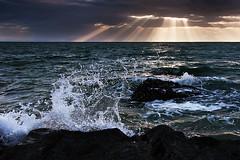 Splash (prperold) Tags: ocean sea sun water clouds southafrica nikon rocks rays splash gordonsbay westerncape d90