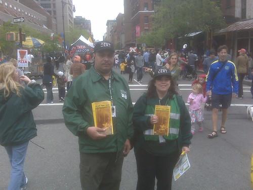 CERT Members Distributing Flu Info At Tribeca Film Festival Fair by you.