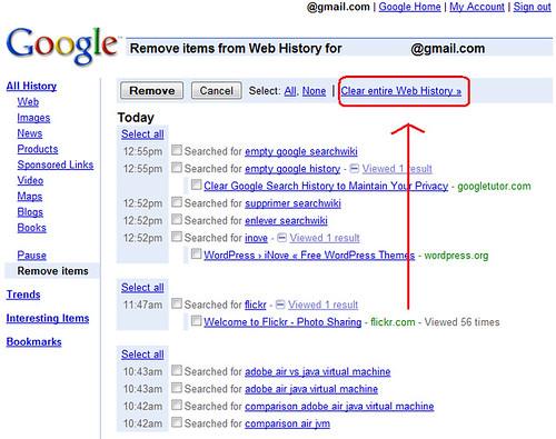 Vider Historique Web Google 2