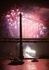 Fiery KFOG Finale (mrperry) Tags: sf sanfrancisco bridge moon tower water night boats lights bay fireworks fullmoon moonrise baybridge embarcadero kfog kfogkaboom fireworksshow d40 pier30 kaboomfireworks