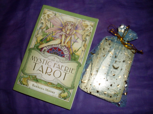 My Mystic Faerie Tarot book & deck on display
