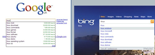 Comparing Linux Search results in Google and Bing