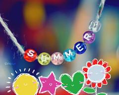 Its Summer Time!! (*glow) Tags: summer sun flower cute colors star beads rainbow colorful glow heart bokeh drawing kawaii string summertime alphabets perles alphabetbeads nouf penciltool