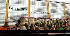 Part I (might) (mightyquinninwky) Tags: black geotagged graffiti tag tracks tags tagged rails spraypaint graff graphiti ars trainyard kor might carcarrier trainart autorack holyroller paintedtrain freightyard railart spraypaintart am7 ferromex paintedsteel k35 evansvilleindiana ttgx paintedboxcar geo:lon=87609916 paintedrailcar 973312 geo:lat=37960288