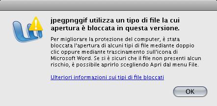 Word 2008: apertura facile? Bloccata!