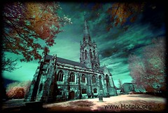 St Elphins Parish Church, Warrington Cheshire UK (Colour Infra Red) (Hotpix [LRPS] Hanx for 1.5M Views) Tags: uk red england color colour saint st ir town warrington cheshire cathedral chapel smith tony infrared infra r72 hotpix elphin 720nm stelphins elfins tonysmith elphins tonysmithhotpix