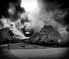 Golf on Mars (@!ex) Tags: blackandwhite foothills green weather clouds golf putting thunder denvercolorado arrowheadgolfcourse pentaxda1650mmf28 coloradothunderstorms therebeastormabrewin pentaxk5 silverefex2 cloudsstormssunsetssunrises
