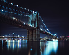 brooklyn bridge at night, nyc (andrew c mace) Tags: nyc newyorkcity longexposure film brooklyn night analog dumbo wideangle brooklynbridge manhattanbridge eastriver epson 4x5 provia xl largeformat schneider cambo 100f v700 superangulon 72mm nikoncapturenx betterscanning 45sf schneider72mmxl