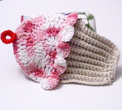 dishcloth9 (piccoladonna2006) Tags: pink red white beige strawberry natural tan desserts dishcloth cupcake sweets vanilla fakefood ecru myffin