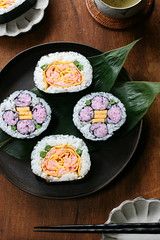 flower sushi rolls (bananagranola (busy)) Tags: food cooking festival japan sushi japanese spring traditional homemade roll japanesefood girlsday hinamatsuri futomaki makizushi ricedish kazarizushi matsurizushi