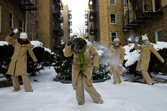 365x3.62  they're ganging up on me! (mintyfreshflavor) Tags: winter selfportrait newyork knitting courtyard explore remotecontrol clone snowballs year3 365days exploretop100 explore40 365more