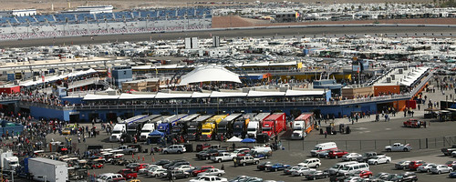 This picture was actually taken on Sunday of the Garage from the Richard Petty Terrace