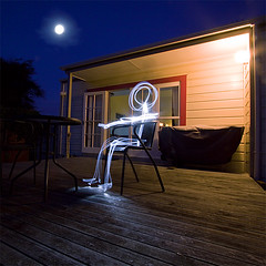 Mister Moon (buddythunder) Tags: light urban moon glow stickman deck torch paintingwithlight flashlight justimagine photographyrocks platinumphoto
