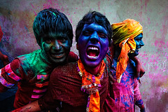 Hol! Ha! ( Poras Chaudhary) Tags: pink blue red india boys colors festival nikon colorful expressions holi d3 shouting 1424mm