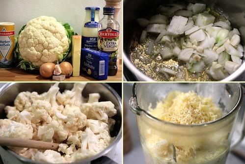 Préparation crème de chou-fleur