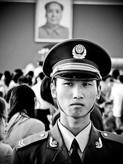 TianAnMen (St.Blues) Tags: china street portrait film square soldier 1 photo fuji shot grain chinese beijing streetphotography 7 finepix s7000 mao soldiers streetphoto emotions tiananmen genre madeinchina streetshot tianan blackanwhite noireetblanc finepixs7000 a stblues mywinners