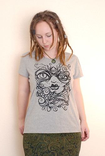 the Goddess in All of Us screen print on gray womens shirt