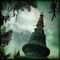 Searching for Enlightenment (designldg) Tags: sky india green heritage birds mystery architecture spectacular temple evening asia heaven colours peace symbol buddha stupa religion dream atmosphere buddhism panasonic silence soul ethereal spiritual shanti soe contrejour bihar bodhgaya  mywinners indiasong dmcfz18 hourofthesoul