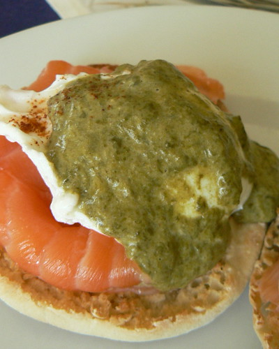 Salmon benedict with sorrel sauce