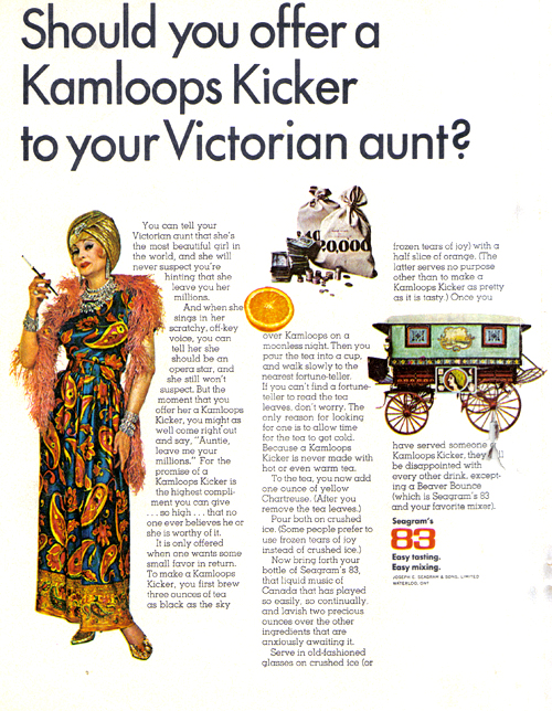 Vintage Ad #803: Should You Offer a Kamloops Kicker to Your Victorian Aunt?