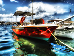 Boat (Theophilos) Tags: sea sky clouds port boat greece crete chania