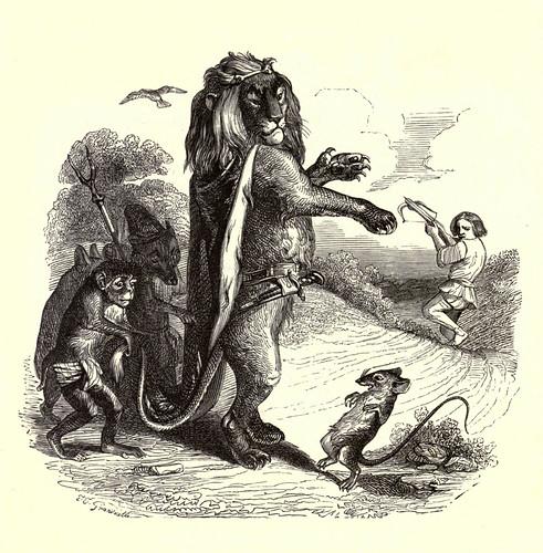 008- El leon y la rata-Fabulas La Fontaine-J.Grandville