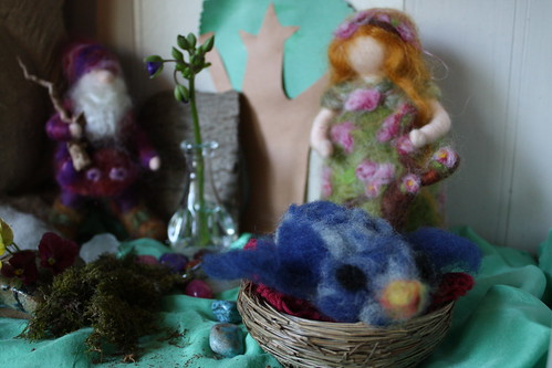 Big sis is learning needle felting, here's her blue bird on the nature table