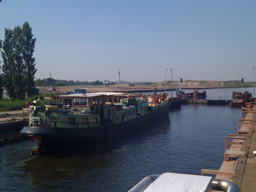 Boat going through the locks at Spaarndam