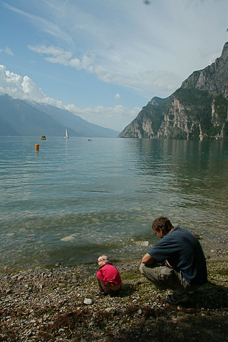 Skimming stones at Lago Di Garda